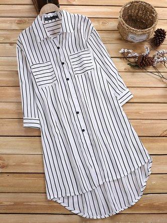 Women Long Sleeve Striped Printed Shirt Collar Blouses