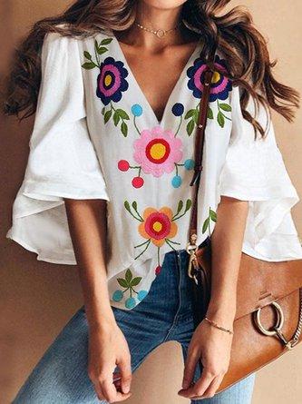 Women Bell Sleeve Tops Floral V Neck Sweet Blouses for Women