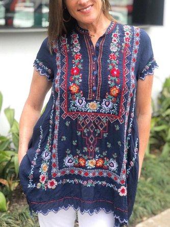 zolucky Short Sleeve Floral-Print Shirts & Tops