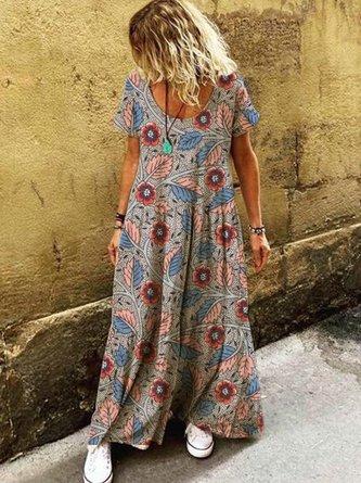 Women Round Neck Casual Short Sleeve Summer Dresses