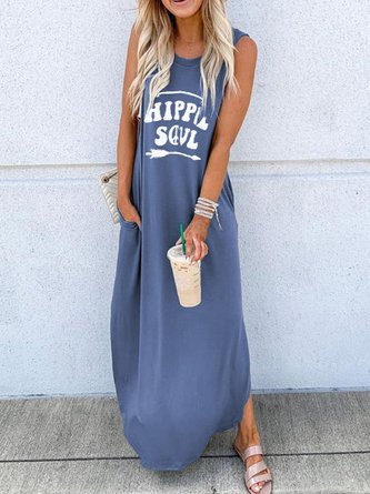 Women Sleeveless Letter Casual Summer Maxi Dresses