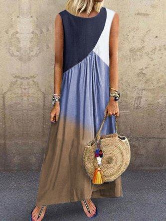 Women Casual Crew Neck Casual Sleeveless Color-Block Summer Dresses