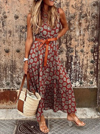 Women Floral-Print Sleeveless Vintage Summer Dresses