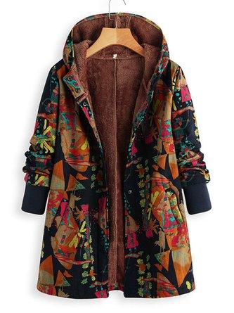 Long Sleeve Printed Hoodie Coat