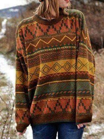 Women Casual Geometric Long Sleeve Sweater
