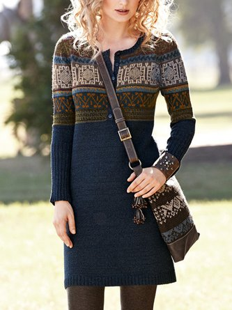 Women Casual Knitted Long Sleeve Sheath Dresses