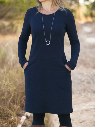 Cotton-Blend Solid Long Sleeve Crew Neck Casual Dresses