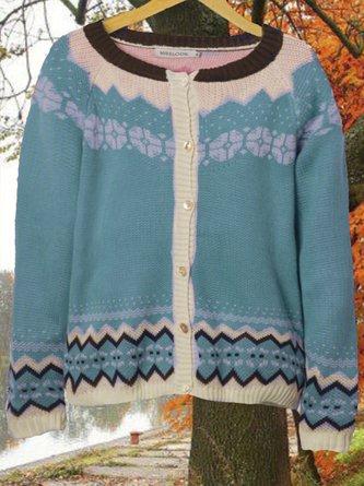 zolucky Casual Plus Size Round Neck Sweater Outwear
