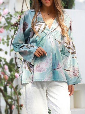 zolucky Lightblue Shirt Collar Long Sleeve Shirts & Tops