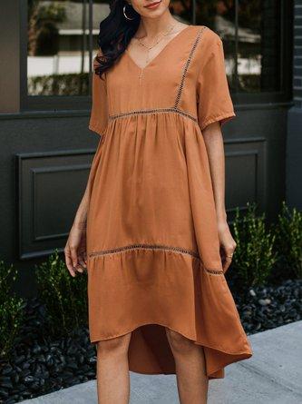 Women Yellow Short Sleeve A-Line Dresses