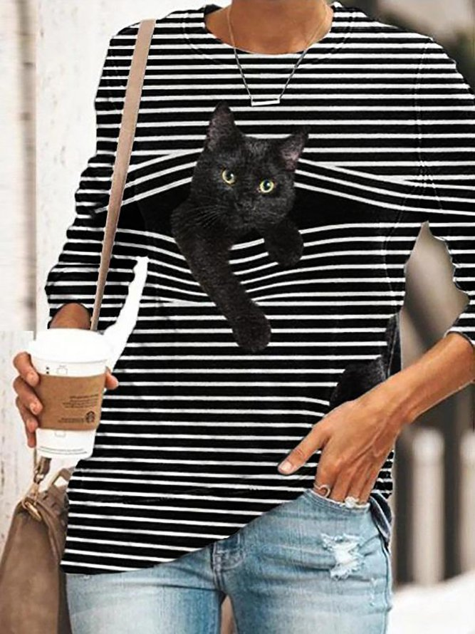 Misaky Women Cat Printed T Shirt Casual Short Sleeve O-Neck Tunic Tops Plus Size Tee Shirt Blouse