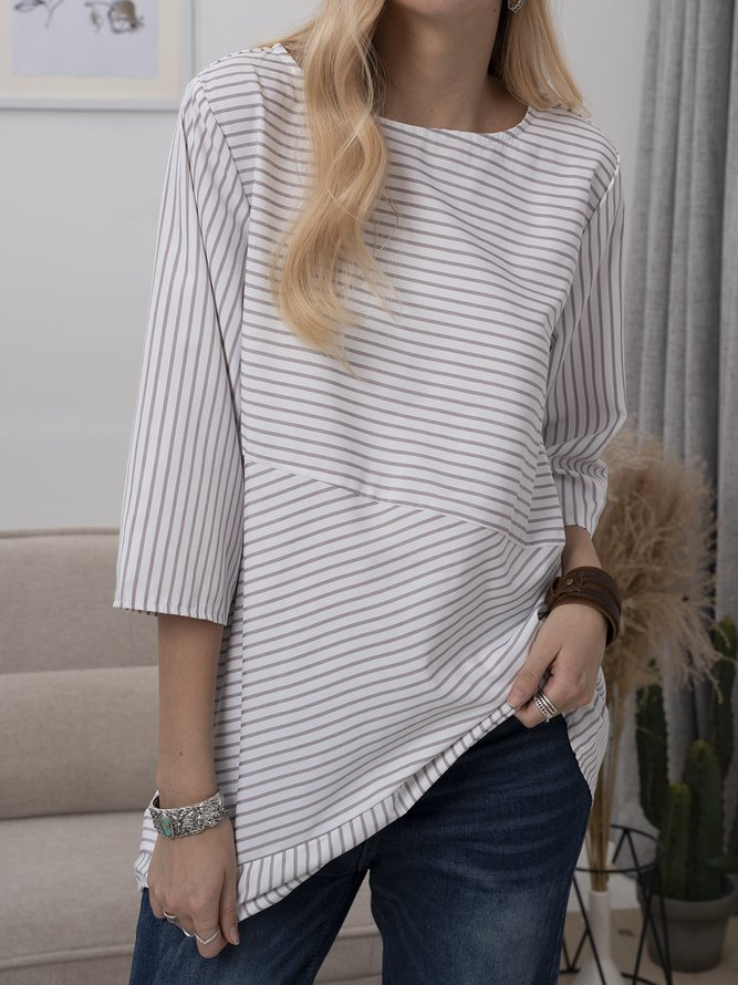 Plus Size Women Half Sleeve Round Neck Striped Casual Tops