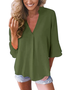 Women Casual Solid  3/4 Sleeve V-neck Tops