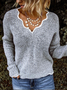 Casual Color-Block Solid Long Sleeve Knitwear & Sweaters