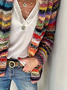 Women Casual Multicolor Striped Plus size Long Sleeve Holiday Outerwear