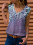 Women Casual Floral Print Sleeveless V Neck Tank TOP