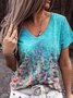 Women Summer Casual Floral-Print Daily T-Shirts